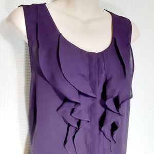 Kenneth Cole Reaction Purple Ruffly Top Blouse XL